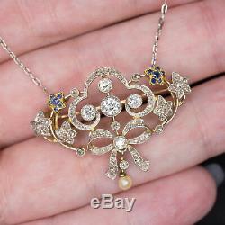 EDWARDIAN ANTIQUE 1ct DIAMOND PENDANT OLD ROSE CUT ART NOUVEAU VINTAGE NECKLACE