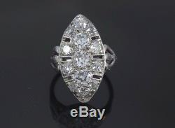Estate Vintage Antique Platinum Old Miner Cut Diamond Art Deco Ring Band Sz 3.25