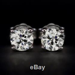 F-G VS OLD EUROPEAN CUT DIAMOND STUD EARRINGS 0.85c VINTAGE ANTIQUE FILIGREE 1CT
