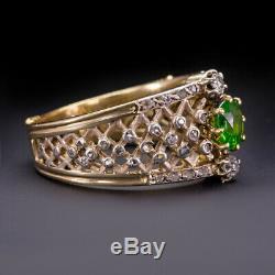 French 1900 Antique Russian Demantoid Garnet Diamond Ring Old Mine Cut Vintage