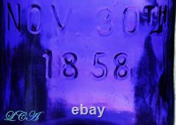GIGANTIC Deep Purple HALF GALLON antique MASON 1858 PATENT fruit jar OLD CLEAN