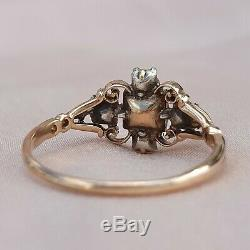 Georgian Old Mine Cut Diamond Ring Antique Vintage Engagement Gold Ring 1800