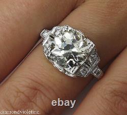 Gia 3.05ct Antique Vintage Deco Old Euro Diamond Engagement Wedding Ring Plat
