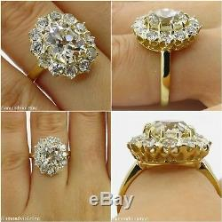 Gia 4.70ct Antique Vintage Old Cushion Diamond Engagement Wedding Cluster Ring