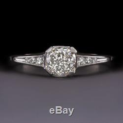H Vs. 87 Old Mine Brilliant Cut Diamond Platinum Engagement Ring Vintage Antique