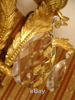 Huge Rare 18 Light Crystal Chandelier Brass Vintage Lamp Old Antique Large
