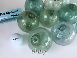 Japanese Glass Fishing Floats 10 x 3, No Netting Authentic Old Japan Balls