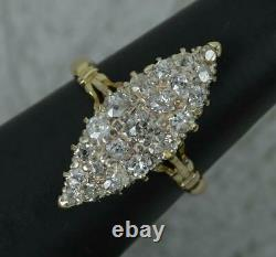 Large Victorian 18ct Gold & 0.85ct Old Cut Diamond Navette Cluster Ring
