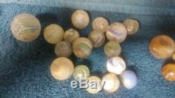 Lot Of Vintage Marbles, Clay and glass, Antique, Old