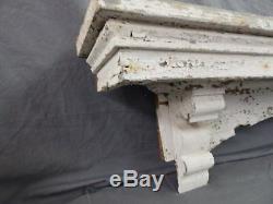 Lrg Antique Window Pediment Header Corbel Shelf Vtg Shabby Victorian Old 489-17P