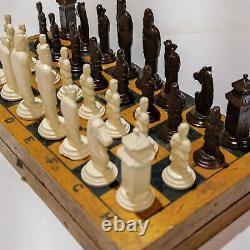 Military Style Chess Vintage Ussr Set Soviet Gypsum Russian Antique Old Rare Su