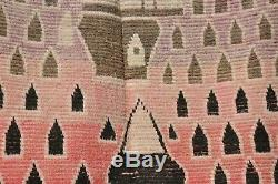 Moroccan Boujad Wool Old Handmade vintage Unique Rug Berber (5,2Ft x 7,8 FT)