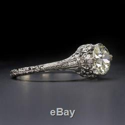 OLD EUROPEAN CUT. 94ct DIAMOND ENGAGEMENT RING VINTAGE ANTIQUE SOLITAIRE 1 CARAT