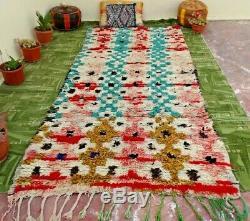 OLd Boucherouite Vintage Beni Ourain Moroccan Handmade Rug Berber Tribal 3' x 8