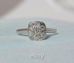 Old Antique Art Nouveau Deco 14k Solid Gold European Cut Natural Diamond Ring