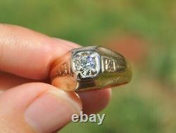Old Antique European Cut. 56 Ct Natural Diamond Mens Ring 14k Solid Gold 7.75