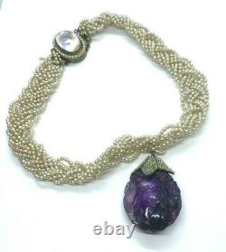 Old Antique Georgian Seed Pearl Rope Choker Carved Amethyst Pendant Pearl Clasp