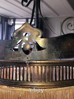 Old Antique Vintage Arts & Crafts Edwardian Brass Fringed Ceiling Pendant Light