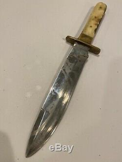 Old Dagger Vintage Antique Bowie Knife Bone Handle Civil War