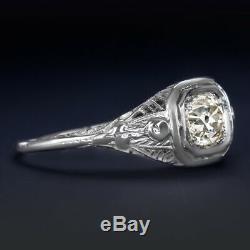 Old European Cut Diamond Art Deco Engagement Ring 18k Vintage Antique 1/2 Carat