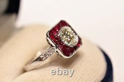 Old Original 18k Gold Art Deco Style Natural Diamond And Ruby Decorated Ring