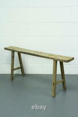 Old Rustic Antique Vintage Wooden Pig Bench Long