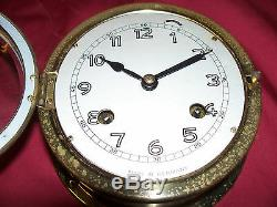 Old US Navy Ships Clock USN Germany Nautical Vintage German Brass WWII Maritime