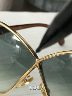 Old VTG Christian Dior CD 2056 41C Gold Butterfly Oversized Sunglasses Austria