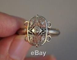 Old Vintage Antique Art Deco 14k Solid White Gold Diamond Ring Filigree Floral