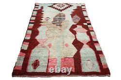 Old Vintage Moroccan Handmade Boujaad Rug Beni Ourain rug Azilal 5.5 FT X 9.1 FT