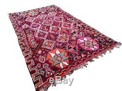 Old Vintage Moroccan Handmade Boujaad Rug Beni Ourain rug Azilal 6'7x11'6