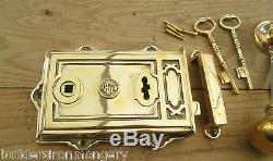 Old Vintage Victorian Style Solid Brass Davenport Lock Knob Set