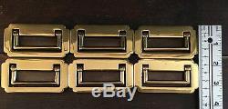 Old Vtg Nos Solid Brass Recessed Flush Hardware Handle Drawer Pull Lot Of 6