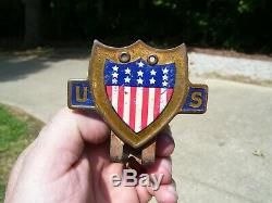 Original 1940' s Vintage ww2 US Flag License plate topper Emblem old Rat Hot rod