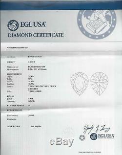 RARE OLD MINE CUT PEAR SHAPE 1.25ct CERTIFIED F SI1 DIAMOND ANTIQUE VINTAGE CUT