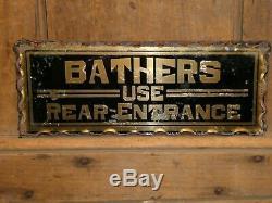 Rare Old Original Bathers Reverse Glass Gold Trade Sign Hotel Vintage Antique