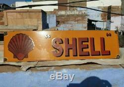 Rare Original Vintage 1930's Old Antique SHELL Ad. Porcelain Enamel Sign Board