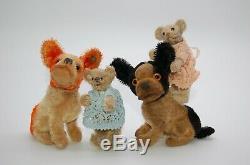 Rare Steiff Miniature Bear Couple c1910 Old Antique German Teddy White & Brown