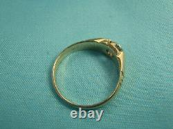 Rare Vintage 14K Yellow Gold. 18Ct Tw Old Miner Cut Diamond Ring 2.2G Size 4 3/4
