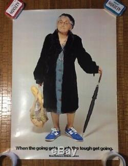 Rare Vintage Original New Balance Advertising Poster USA Made Old Lady Aime Leon