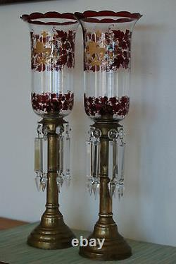 Russian Antique Glass Lighting Old Victorian Candle Stick Holder Oil Candelabra