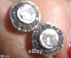 Stunning Clean Diamond Antique 1 Ct Old Mine Rose Cut Stud 14k Earrings
