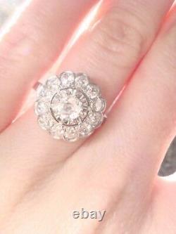 Stunning French Edwardian Art Deco Platinum Old Cut Diamond 1.40ct Cluster Ring