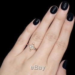 True Antique 1 Carat Old Mine Cut Diamond Ring Victorian Rose Gold Oval Vintage