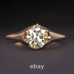 VINTAGE 1.25ct VS2 DIAMOND ENGAGEMENT RING OLD EUROPEAN CUT ROSE GOLD ANTIQUE