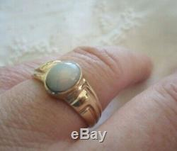 VINTAGE AUSTRALIAN OPAL SOLID 18 KT GOLD RING size T ESTATE ANTIQUE OLD JEWELRY
