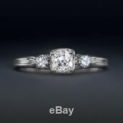 VINTAGE H SI1 OLD MINE CUT DIAMOND 18K ENGAGEMENT RING WHITE GOLD ANTIQUE 0.5ct