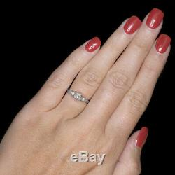 VINTAGE H SI1 OLD MINE CUT DIAMOND 18K ENGAGEMENT RING WHITE GOLD ANTIQUE 0.5ct