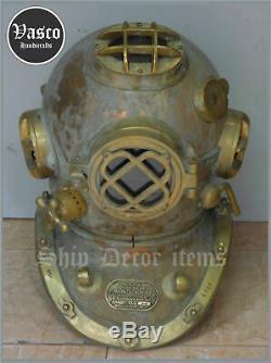 VINTAGE LOOK FULL SIZE 18' OLD Antique Diving Helmet Mark V Deep U. S. Navy Diver