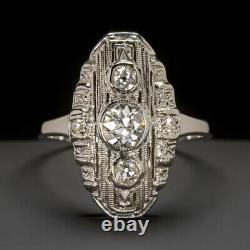 VINTAGE OLD EUROPEAN CUT DIAMOND COCKTAIL RING ANTIQUE ART DECO WHITE GOLD 20s